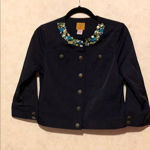 Ruby rd beaded neckline navy button jacket